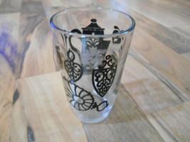 Old Vintage Swanky Swig Kitchen Juice Cup Glass Black Tea Ornate Country - $9.99
