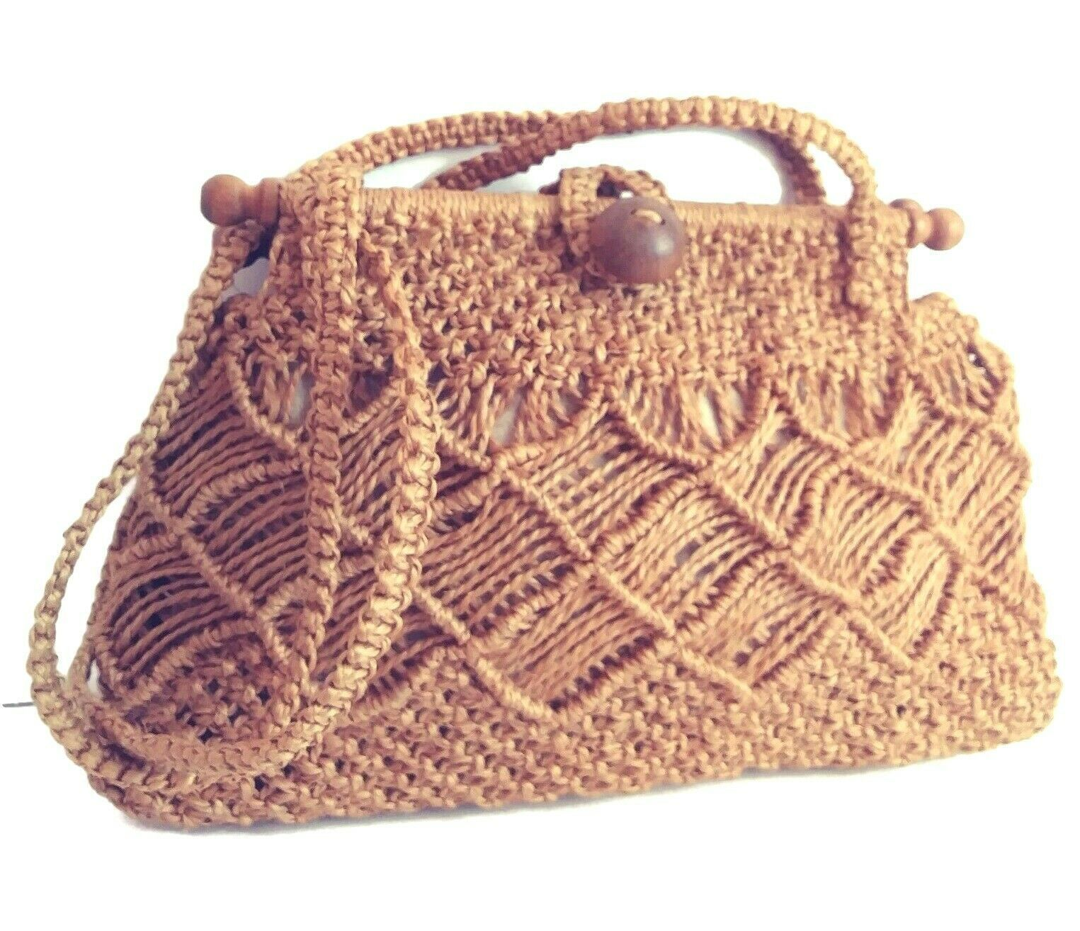 "Primary image for Macrame Handbag Purse 15"" Boho Ethnic Sisal Wooden Accents Handmade Columbia"