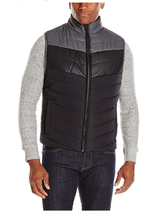 REACTION KENNETH COLE Color Block Puffer Vest, Black Combo, Size L - $64.34