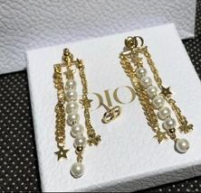 AUTH Christian Dior 2019 DANSEUSE ETOILE MULTI STRAND STAR EARRINGS PEARL GOLD image 8