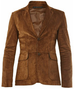Men's New High Quality Buckskin Brown Goat Suede Leather Blazer Jacket SJ08 - $139.00+