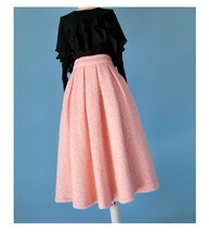 Women Winter Warm Wool Skirt Midi Full Pleat Skirt Winter Party Skirt,BLUSH PINK image 3
