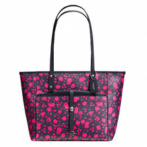 Coach City With Pouch Prairie Calico Floral Print 57283 Navy PINK RUBY T... - $139.00