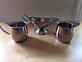 Vollrath Stainless Steel Set Gravy Boat #47575 and  2 Creamers Milk #346005 - $14.84