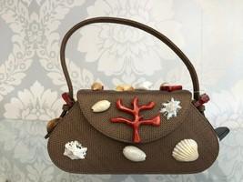 RENAUD PELLEGRINO Shell Accent Brown Straw Top Handle Handbag $400 - $150.38