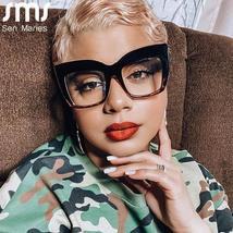 2021 Anti-blue Big Glasses Frames Optical Women Sunglasses Retro Oversized Eyegl