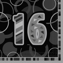 Unique Party Black Glitz Lunch Napkins - 16 #gih - $9.89