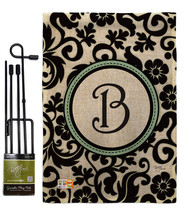 Damask B Initial Burlap - Impressions Decorative Metal Garden Pole Flag Set GS13 - $33.97
