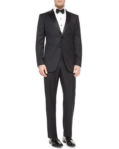 NWT GIORGIO ARMANI 58L/48L tuxedo formal $3,195 suit wool satin trimmed black