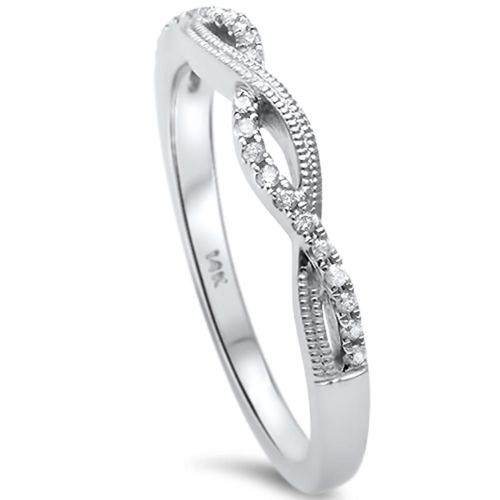 14K White Gold .07 Carat Diamond Twisted Anniversary Wedding Band