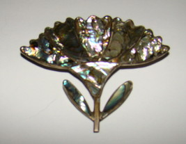 Vtg Sterling Silver Abalone Paua Shell Flower Brooch Pin Wild Thistle Me... - $30.00