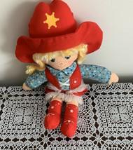 Vintage 1981 Knickerbocker 12 inch Cowpokes Cowgirl Cloth Doll Toy Ruth Morehead - $11.49