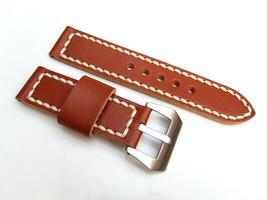 24MM Handmade Genuine Italian Tan Black Strap PRE-V Brushed Buckle Fits PANERAI - $44.37