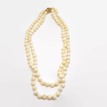 Vintage Mother-of-Pearl Bead Double Strand Hand Knotted Necklace  - $56.26