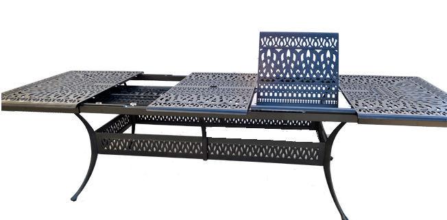 11 Piece Patio Dining Set Outdoor Aluminum Elisabeth Extendable Table 48 x 132