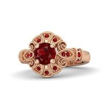 14k Rose Gold Plated 925 Silver Disney Princess Pocahontas Ring Round Red Garnet - $77.35