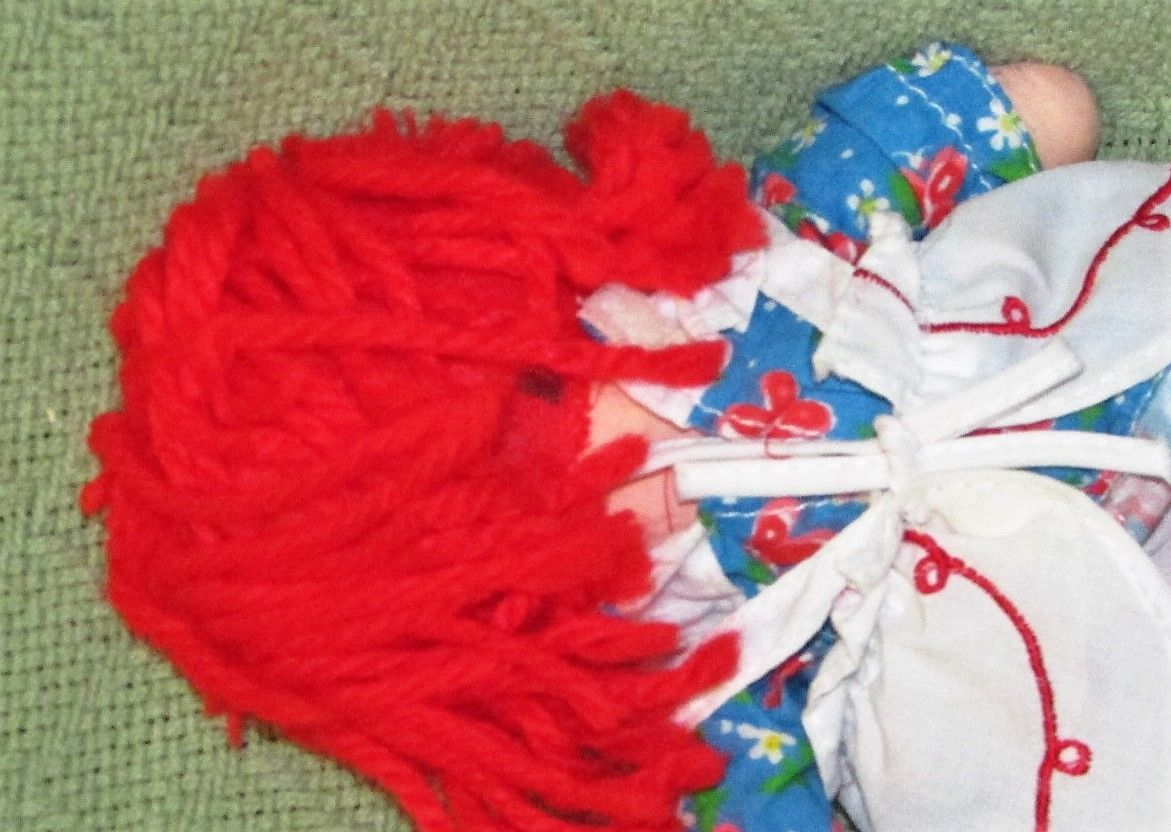 """8"""" KNICKERBOCKER RAGGEDY ANN ANDY Vintage Applause Dolls Embroidered Eyes TAIWAN image 8"""