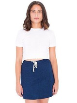 American Apparel Indigo Terry Sporty Dark Wash Indigo Mini Skater Skirt ... - $19.79