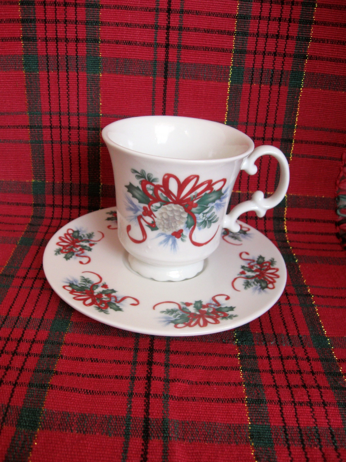 Primary image for Christmas Holly and Ribbon Cup and Saucer Sets - Six (6) Available