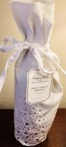 POTTERY BARN Gold Heart Confetti WINE Bottle Gift Bag Ivory Tie Cotton T... - $15.84
