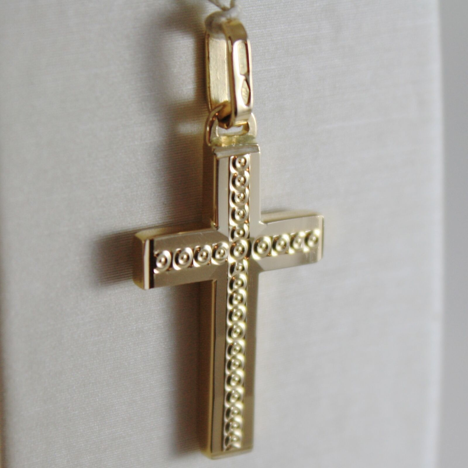 18K YELLOW GOLD CROSS SQUARED TWO FACES CIRCLES ENGRAVABLE 1.14, MADE IN ITALY