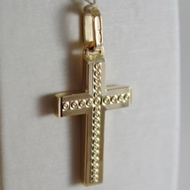 18K YELLOW GOLD CROSS SQUARED TWO FACES CIRCLES ENGRAVABLE 1.14, MADE IN ITALY image 1