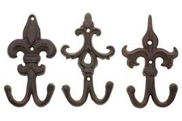 Comfify Set of 3 - Cast Iron Fleur De Lis Double Wall (Rust Brown) - $36.37