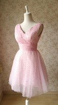 Cute Pink V-neck Short Princess Dress Sleeveless Pink Tutu Birthday Party Dress image 6