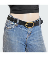 New S M FOSSIL Chic Real Leather Side Links Women's Waist Belt Oval Buck... - $10.79