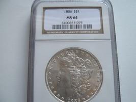 1886 , Morgan Silver Dollar , NGC , MS 64 - $89.10