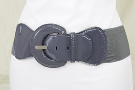 Women Dark Gray Charcoal Color Faux Patent Leather Elastic Fashion Belt ... - $12.73