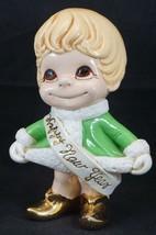 Vtg Atlantic Mold Happy New Year's Girl Holiday Ceramic Figure Elf Golde... - $47.89