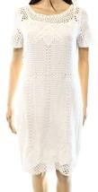 2302 LRL Ralph Lauren Womens White Crochet Short Sleeves Sheath Dress Sz... - $64.79