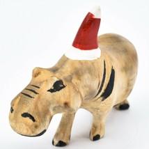 Hand Carved & Painted Jacaranda Wood Santa Hat Hippopotamus Christmas Figurine image 2