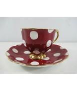 Royal Albert Polka Dot Footed Teacup and Saucer Red White Vintage England - $70.44