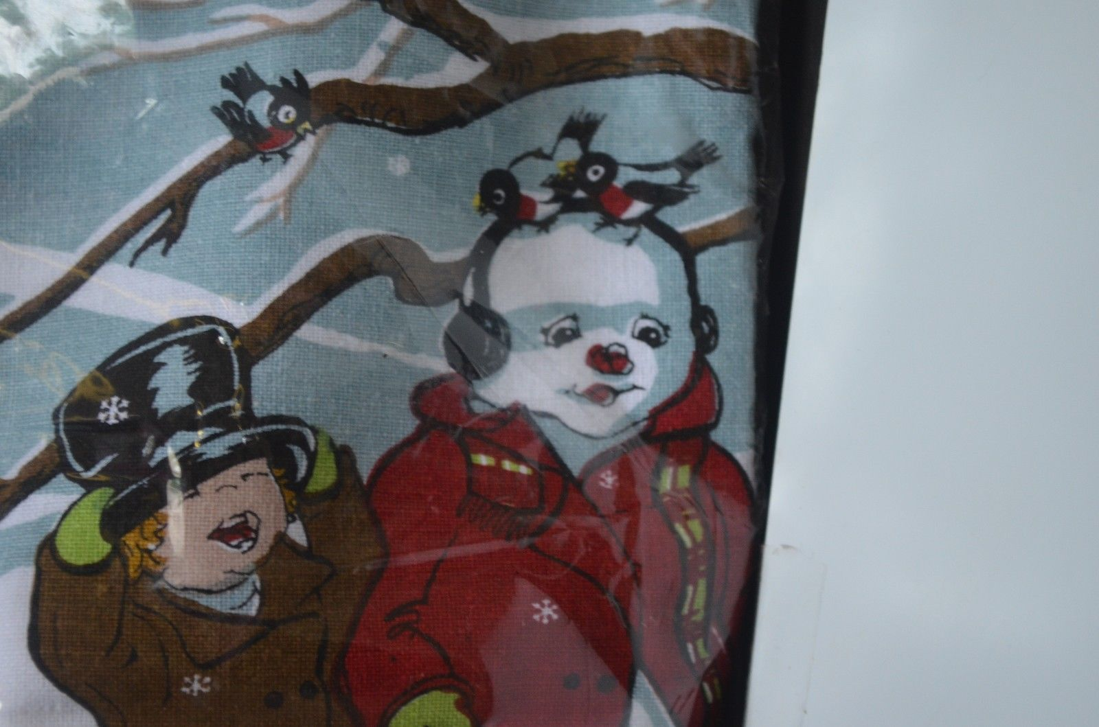 Vintage Set of 2 Hand Screen Print Kitchen Towels Featuring Snowman & Child NIP