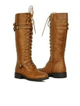 NEW Womens Faux Leather Boots Combat Knee High Lace Up Riding Cognac Bro... - $37.74