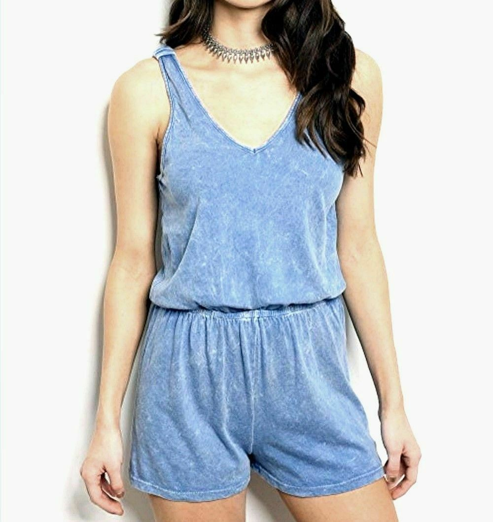 Romper Distressed Blue Honey Punch Size Sm / Med Choice Soft Feel