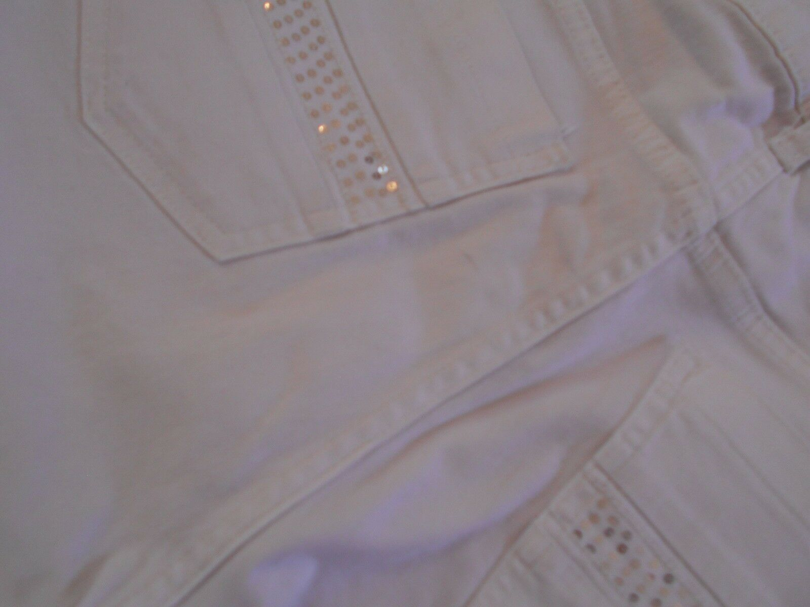 """Riders by Lee Women's Stretch Jean Bermuda SHORTS 14 WAIST 37"""" WHITE SEQUIN   image 8"""