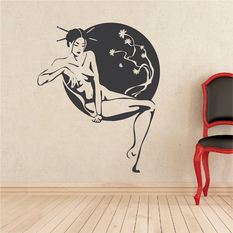 Asian lounge wall decal living room home decor beautiful - Beautiful wall stickers for living room ...