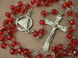 Catholic Rosary Holy Spirit Confirmation Medal 6mm Red Glass Beads - $23.38
