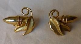 Vintage 1950s-1960s Goldtone Clip On Earrings Bullets Leaves Vine - $15.00