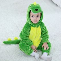 Baby Flannel Green Dinosaur Romper Newborn Hooded Jumpsuit Hoodie Sleepwear - $36.80+