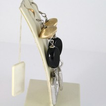 Boucles D'Oreilles en Argent 925 Rhodié Pendentifs avec Onyx Noir Ovale Polie image 2