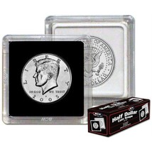 Box 25 BCW 2X2 COIN SNAP - HALF DOLLAR - BLACK - Premium Long-term Stora... - $10.88