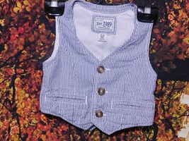 2 Baby's Striped Railroad BUTTON-UP Vest By Place / Size 6-9 M & A 9-12 M - $4.00