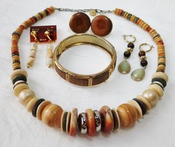 Vintage Wood Glass Bead Faux Pearl Necklace Hinge Cuff Bracelet Earring ... - $19.78