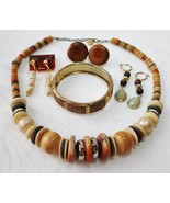 Vintage Wood Glass Bead Faux Pearl Necklace Hinge Cuff Bracelet Earring ... - $19.78