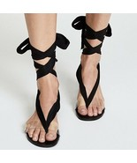 FREE PEOPLE Barcelona Ankle Tie Sandals Clear Strap 39 8.5 - $43.35
