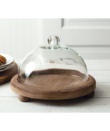 Glass Footed Cloche with a Wood Base - $74.25